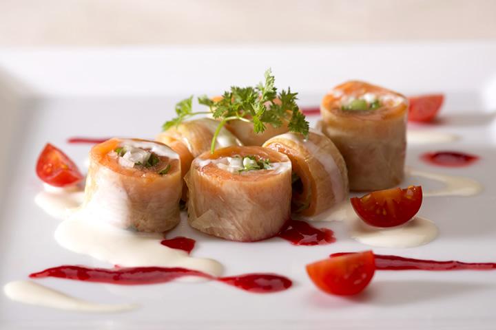 ディナー_京野菜とスモークサーモンの生湯葉巻き